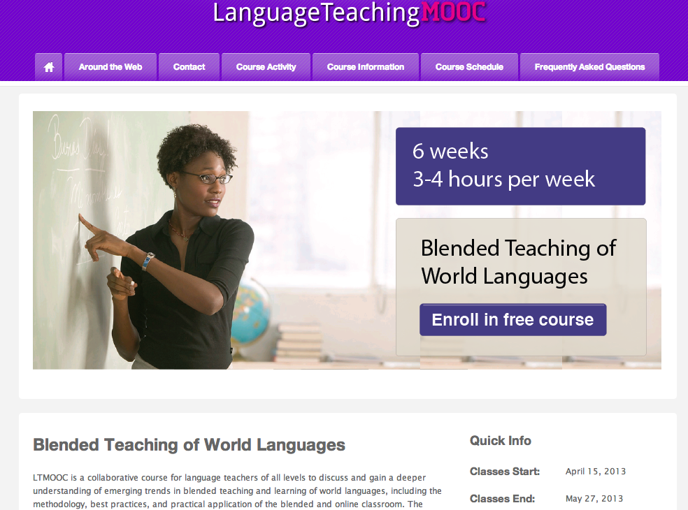 Online professional development for foreign language teachers