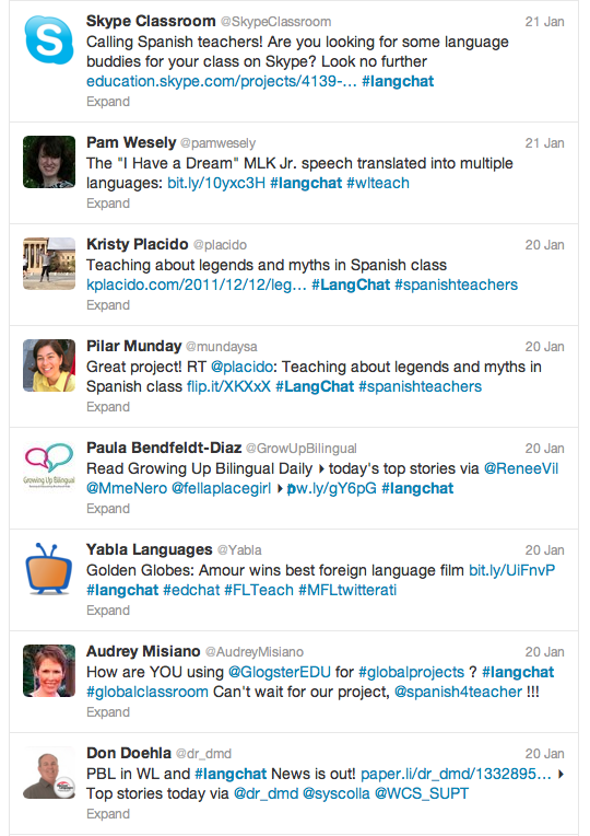 Using Twitter hashtags foreign language