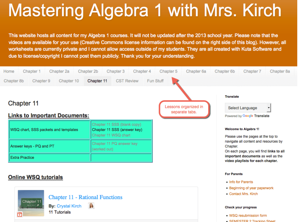 Blog to organize technology integration lessons